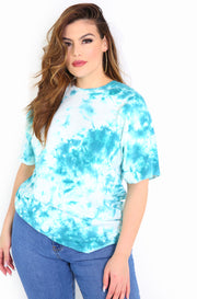 Blue Tie Dye Crew Neck T-shirt Plus Sizes