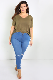 Blue Mid Rise Skinny Jeans Plus Sizes