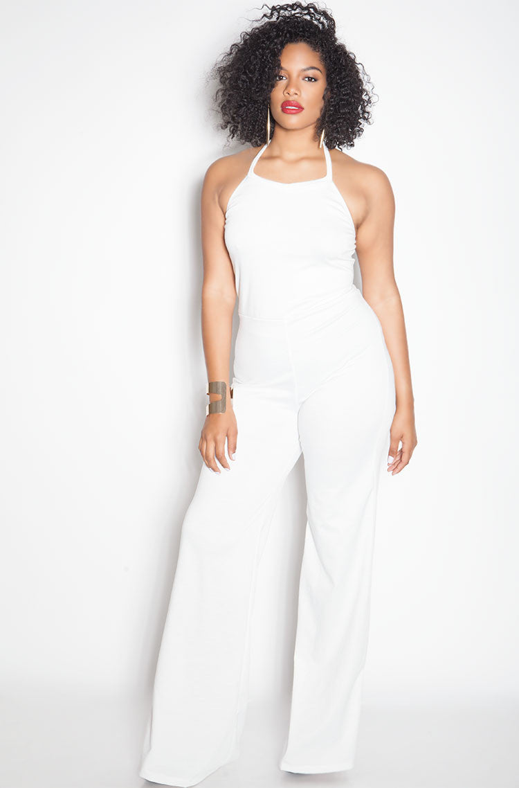 White Bell Bottom Jumpsuit plus sizes