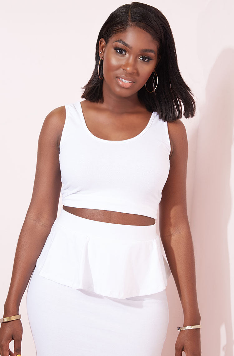 White Tank Crop Top plus sizes