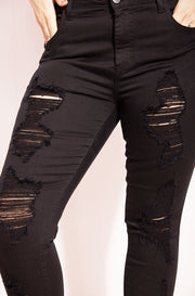 Black Distressed Jeans plus sizes