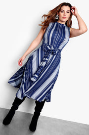 Blue Sleeveless Skater Midi Dress Plus Sizes