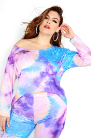 Purple Tie Dye High Low Long Sleeve Top Plus Sizes