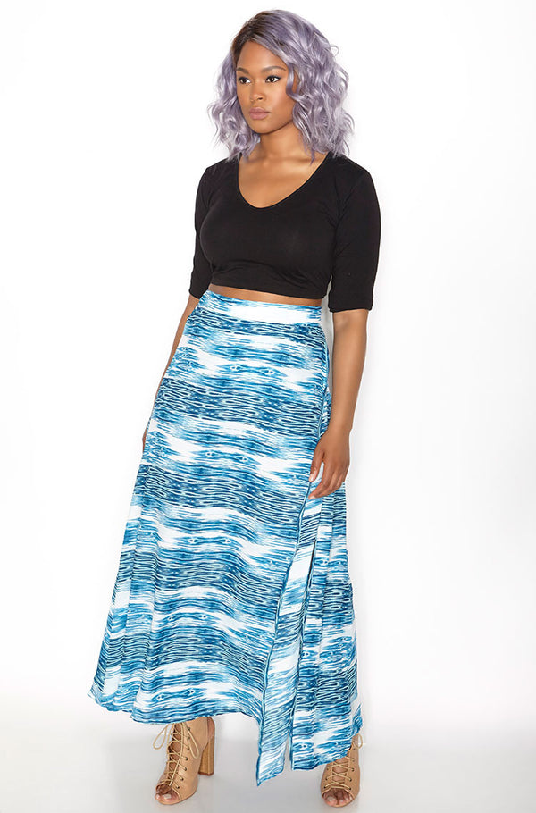 Blue Chiffon Wrap Skater Maxi Skirt  Plus Sizes