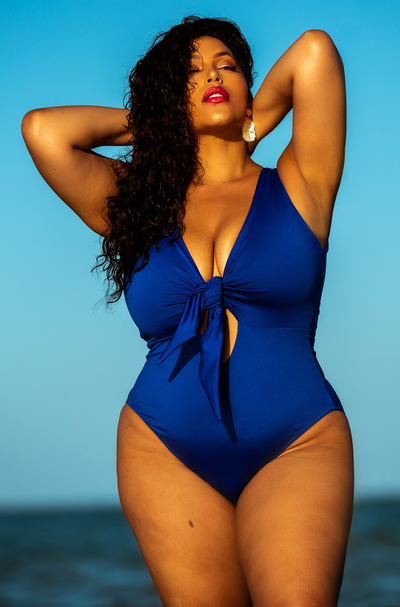 Royal Blue Front Tie Swimsuit Plus Sizes