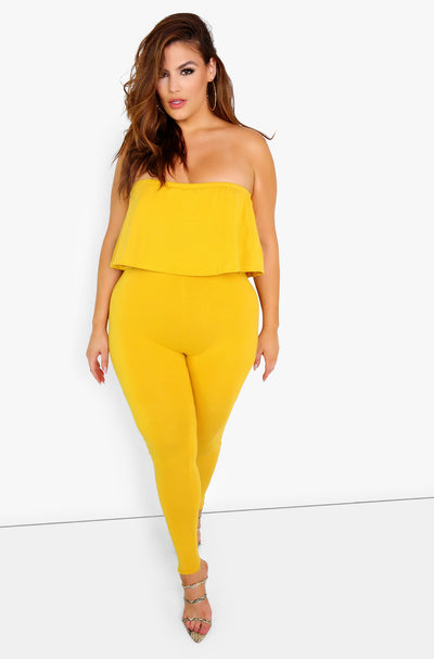 Mustard Ruffled Jumpsuit Plus Sizes