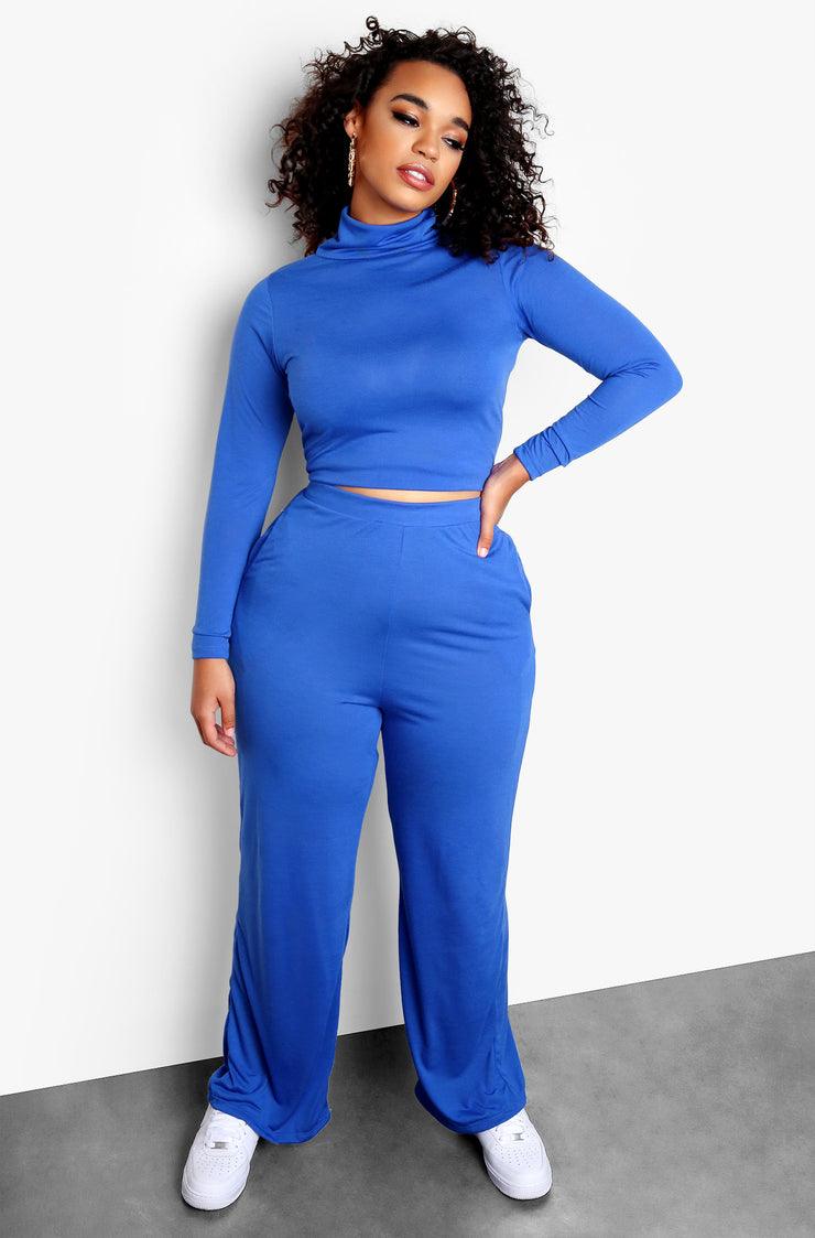 Royal Blue Plus Size Long Sleeve Turtleneck Top & Matching Pants