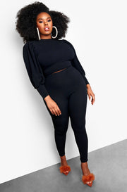 Black Open Tie Back Long Sleeve Top & Leggings Plus Size Set