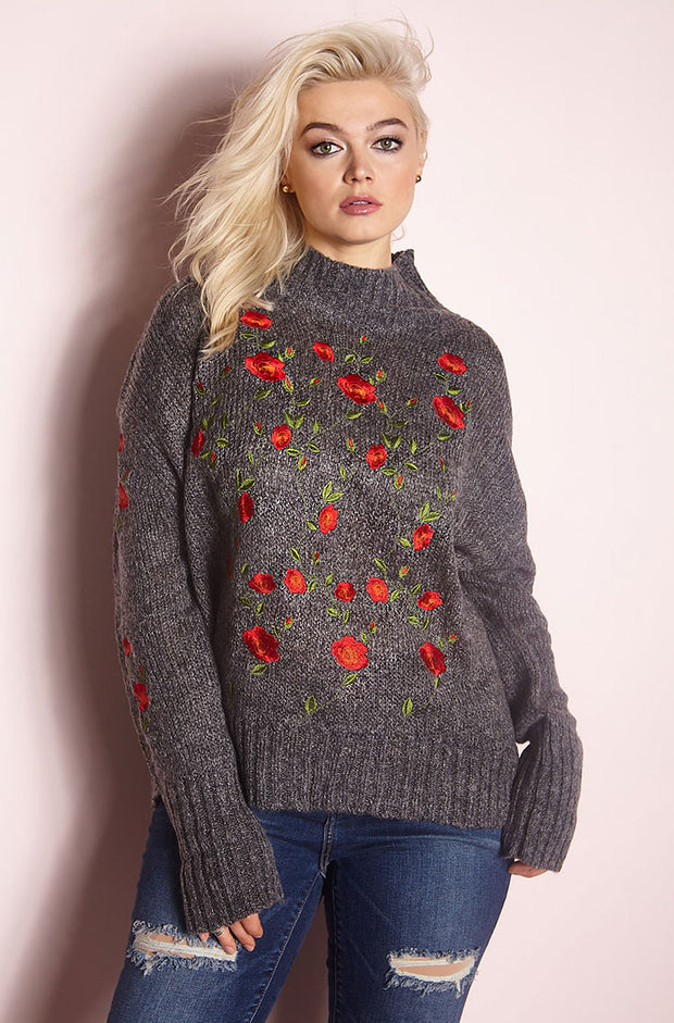 Gray Embroidered Sweater plus sizes