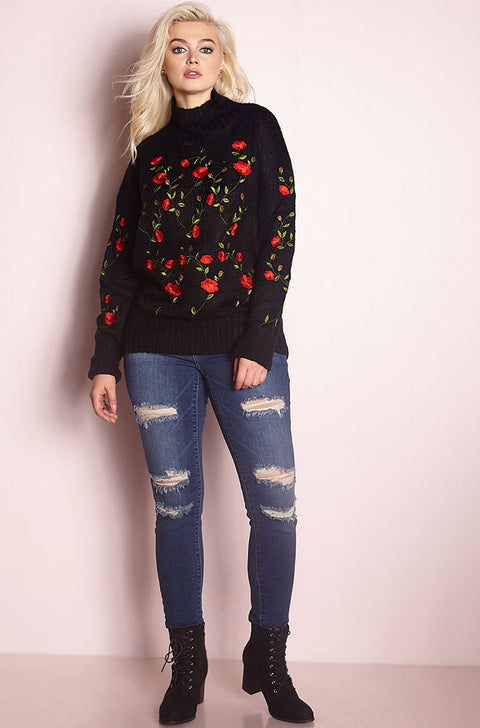 Black Embroidered Sweater plus sizes