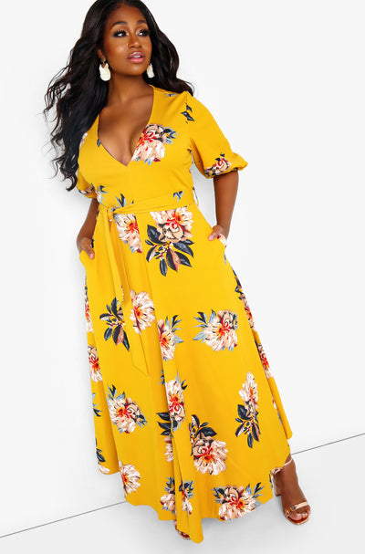 Mustard  Puff Sleeve Plunge Maxi Dress Plus Sizes