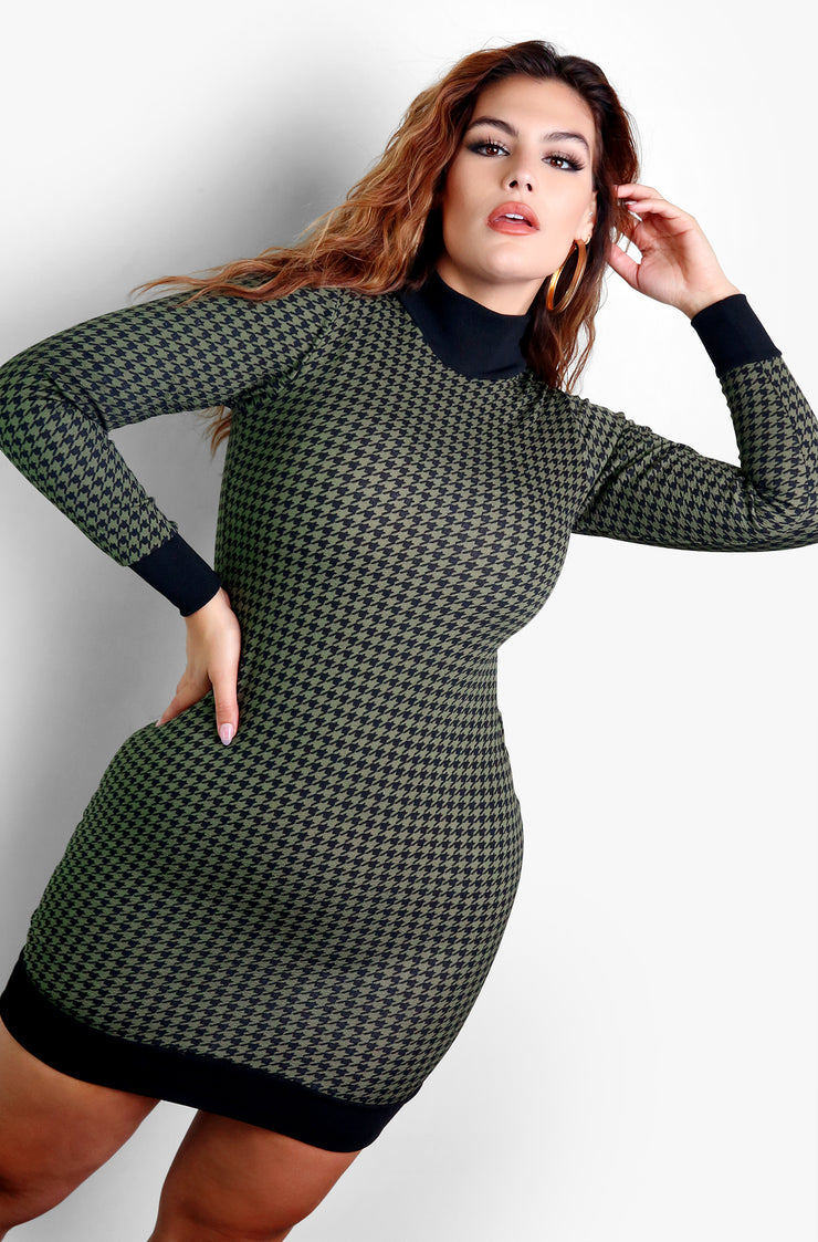 "Rebdolls ""Pencil You In"" Long Sleeve Bodycon Mini Dress"