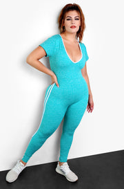 Teal V-Neck Striped Bodycon Plus Size Jumper