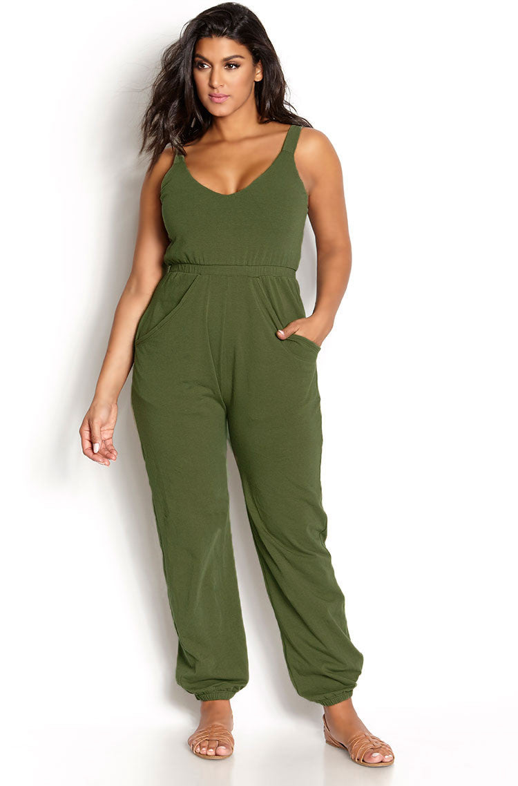 Green Jogger Style Jumpsuit plus sizes