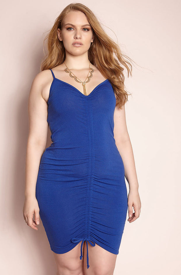 Blue Ruched Mini Dress plus sizes