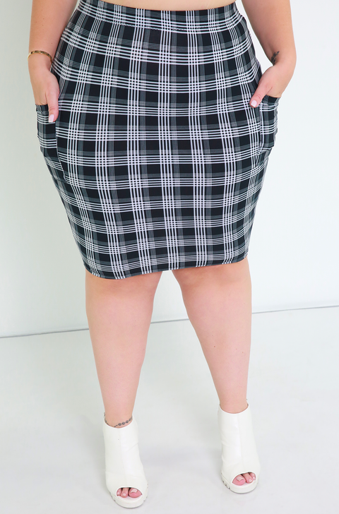 Plaid Cargo Set Mini Skirt Plus Sizes