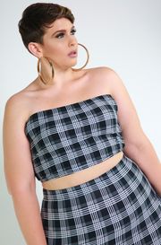 Black Plaid Cargo Set Plus Sizes