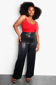 Black Plus Size Sequin High Waisted Pants