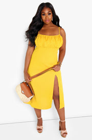 Mustard A-line Midi Dress w. Side Slit Dress Plus Sizes