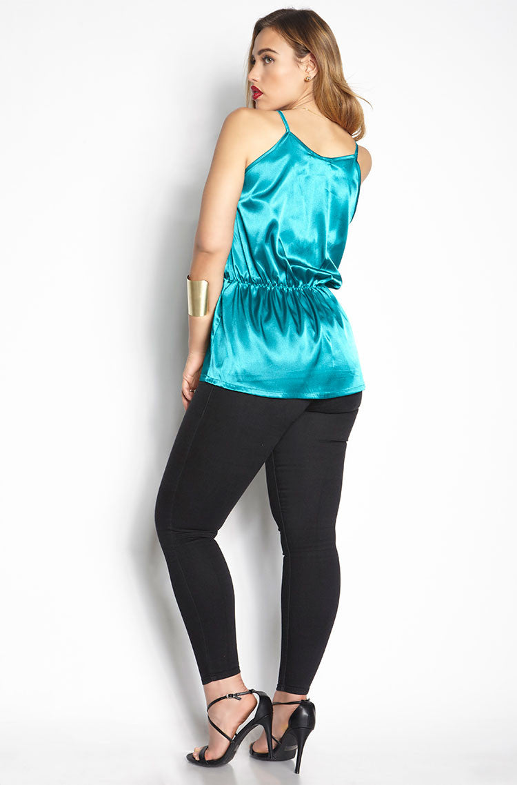 Teal V-Neck Top plus sizes