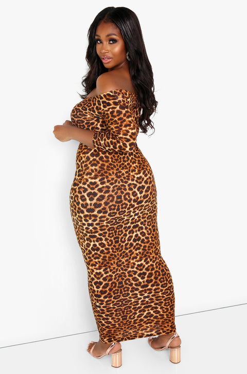 Brown  Leopard 3/4 Sleeve Over The Shoulder Maxi Dress Plus Sizes