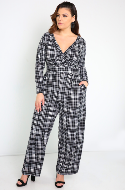 Black Over The Shoulder Jumpsuit Plus Sizes