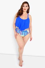 Blue High Waisted Swim Bottom Top Plus Sizes