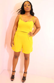 Yellow Caged Crop Top plus sizes