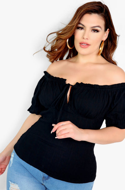 Black Over The Shoulder Smocked Top Plus Sizes