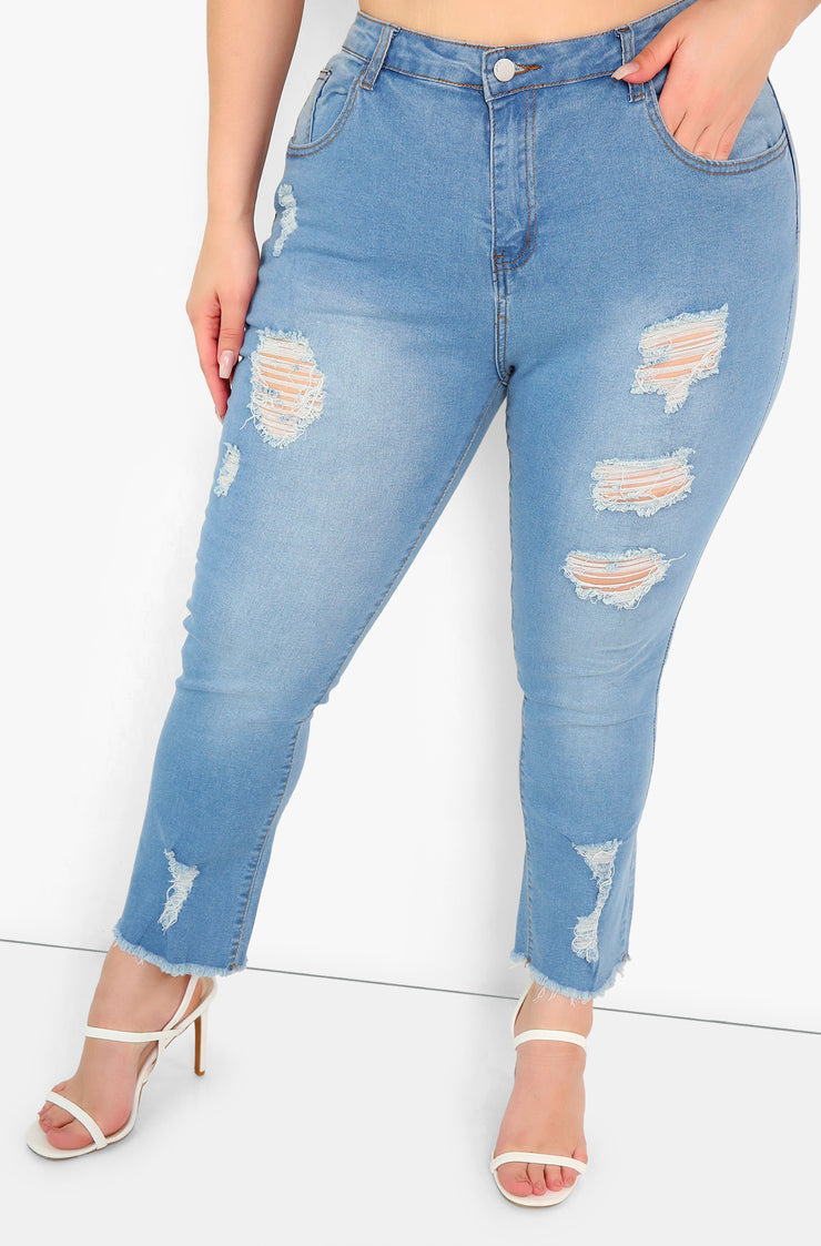 Light Blue Distressed Skinny Jeans Plus Sizes
