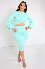 "Rebdolls ""Prove it"" Knotted Crop Top & Midi Skirt Set"