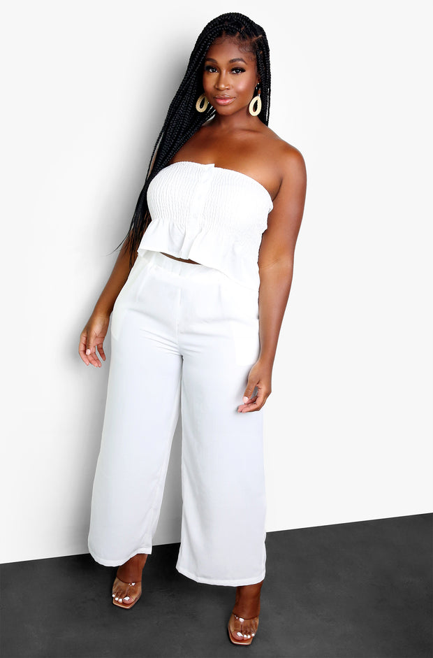 White Smocked Crop Top Plus Sizes