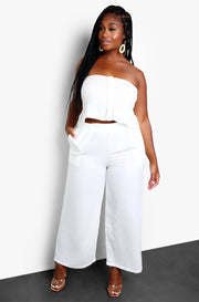 White Smocked Wide Leg Pants Plus Sizes.
