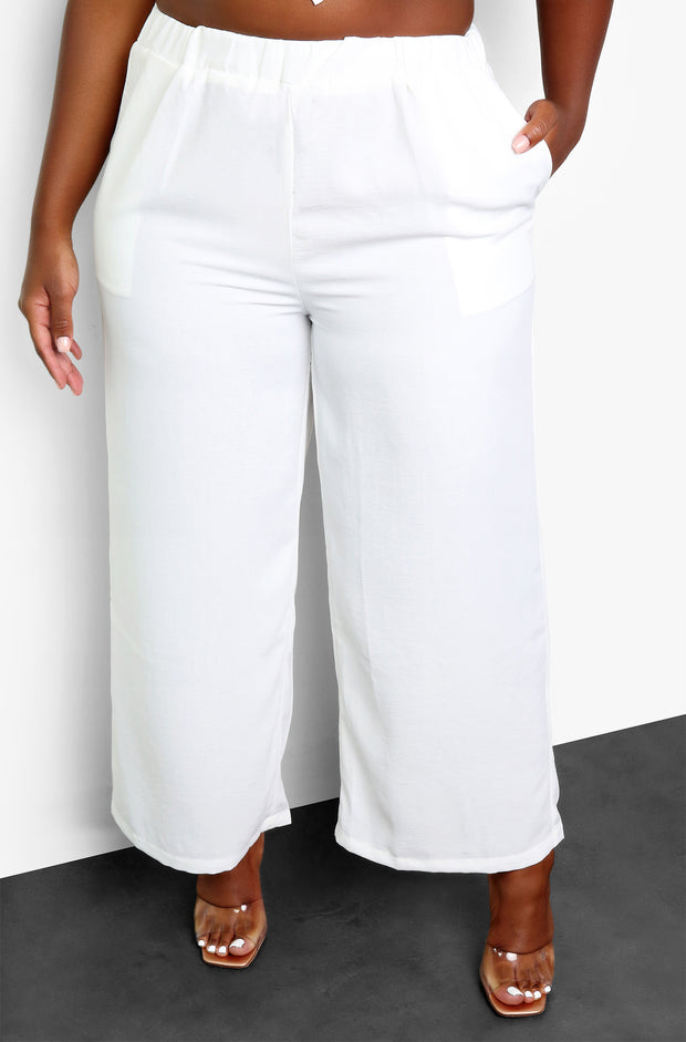 White Smocked Wide Leg Pants Plus Sizes