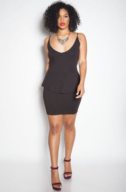 Black Bodycon Peplum Mini Dress plus sizes
