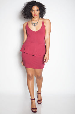 Burgundy Bodycon Peplum Mini Dress plus sizes