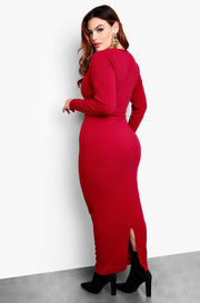 Burgundy Scoop Neck Long Sleeve Maxi Dress Plus Sizes