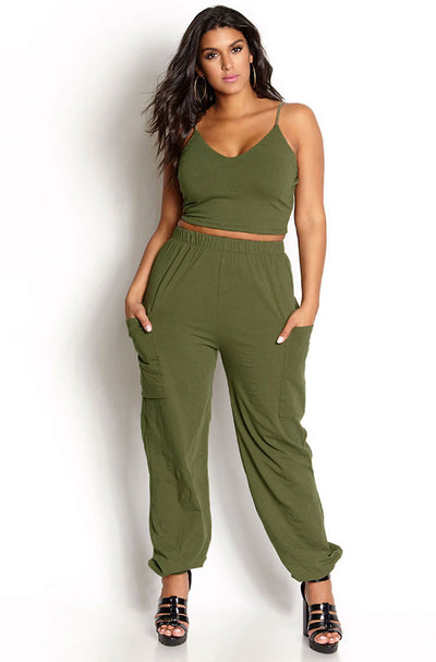 Green Jogger & Crop Set plus sizes