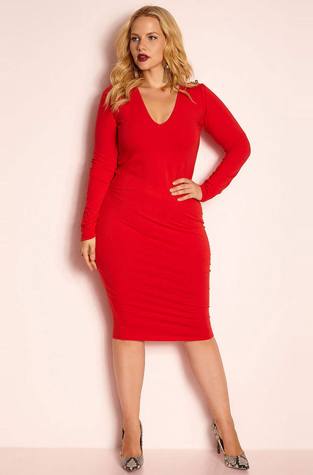 Red Essential Long Sleeve V-Neck Bodycon Midi Dress plus sizes