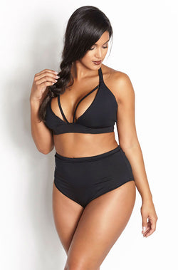 Black Caged Two Piece Swimsuit Plus Sizes