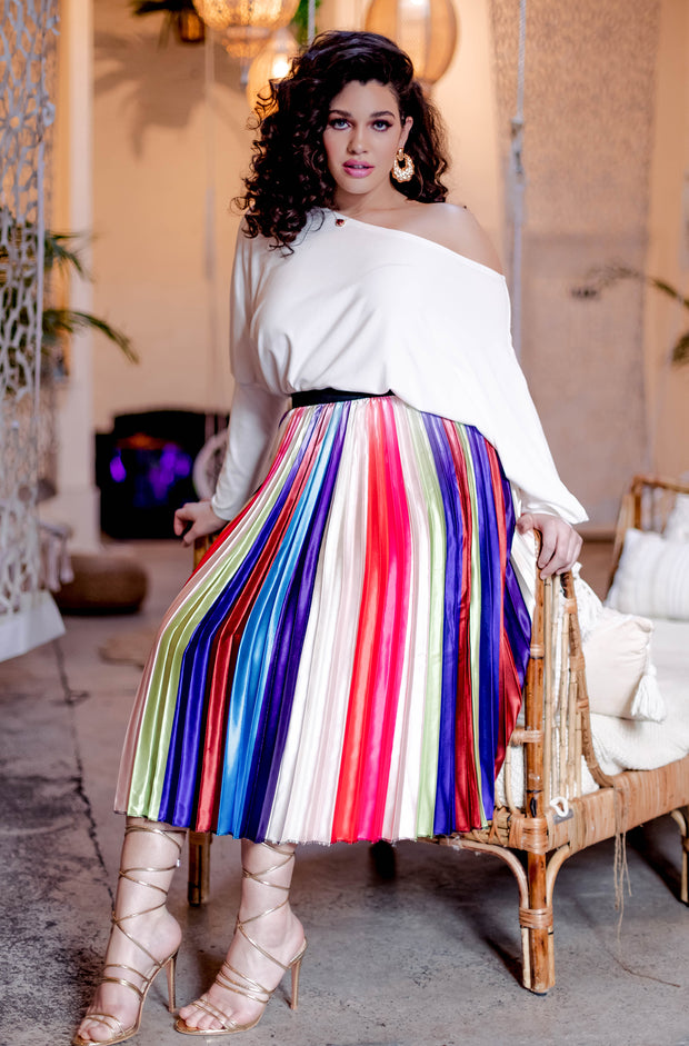 "Rebdolls ""My Own Mood"" Multi-Color Pleated Midi Skater Skirt"