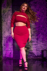 "Rebdolls ""Cut Through You"" Long Sleeve Cut Out Crop Top & Bodycon Mini Skirt Set - Burgundy"