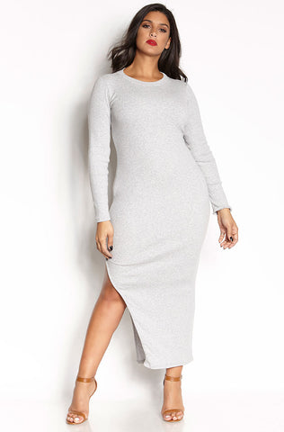 Rebdolls Essential 3/4 Sleeve V-Neck Midi Dress - Heathered Gray