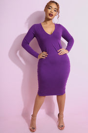 Purple Essential Long Sleeve V-Neck Bodycon Midi Dress plus sizes