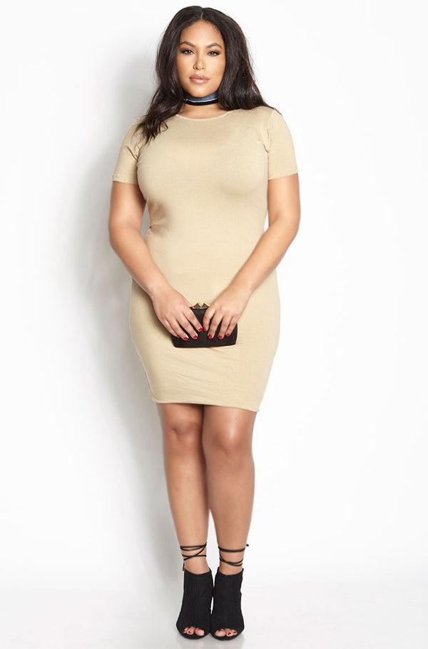 Nude Essential Short Sleeve Crew Neck Bodycon Mini Dress plus sizes