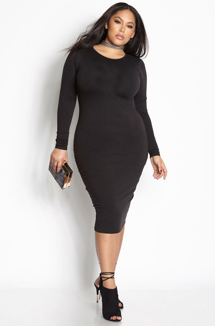 Black Essential Long Sleeve Crew Neck Bodycon Midi Dress plus sizes