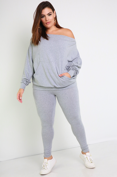 Gray Over The Shoulder Sweater & Legging Set Plus Sizes