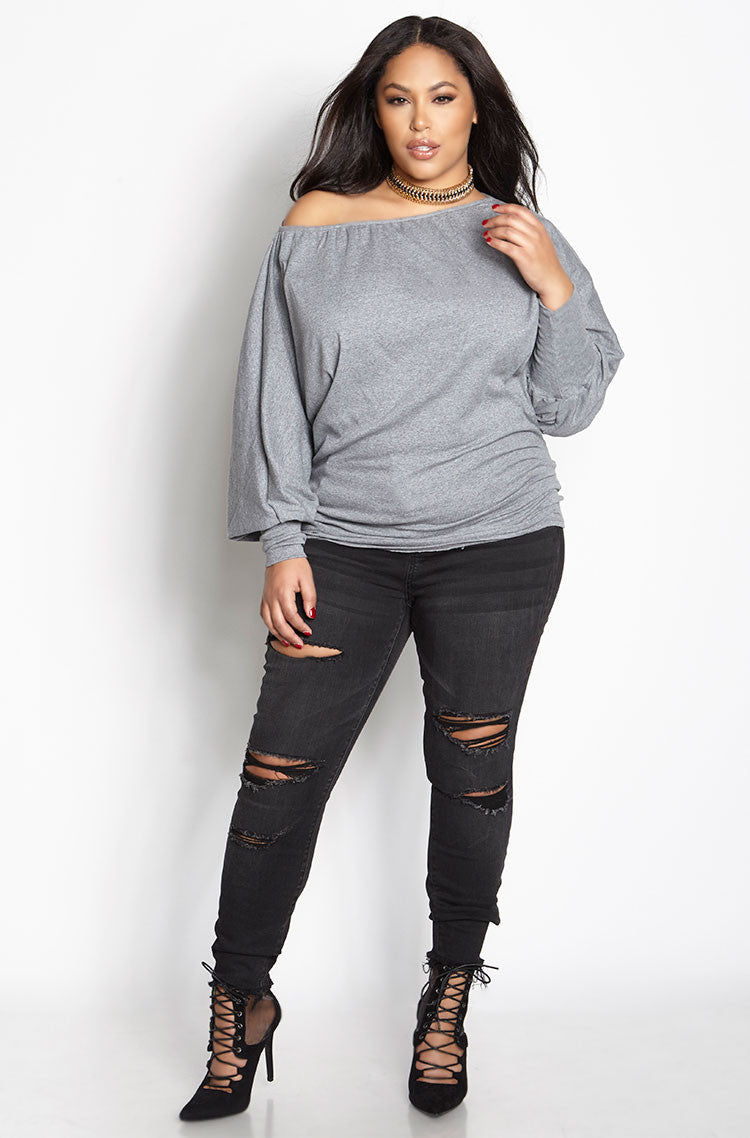 Gray Dolman Sleeve Top plus sizes
