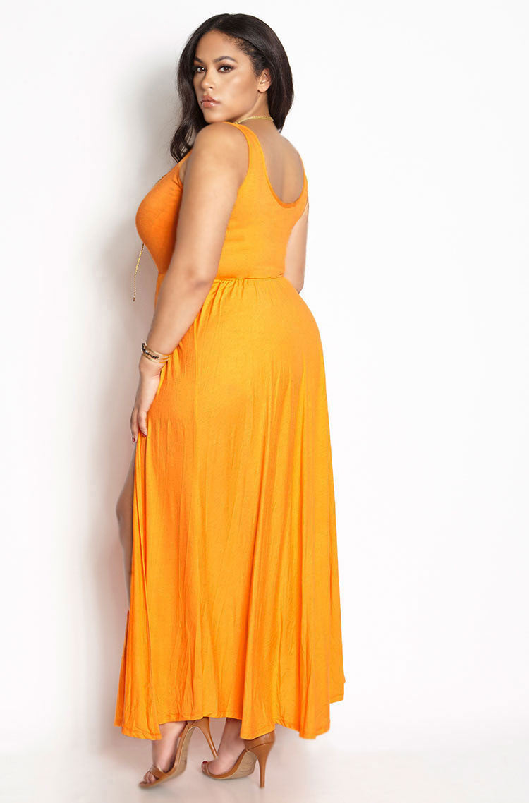 Orange High Slit Skater Maxi Dress plus sizes