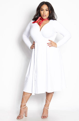 "Rebdolls ""Don't Make Me Wait"" Turtleneck Midi Dress - White"